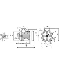 IE4 Electric motor 2,2 kW 230VD/400VY 50 Hz 1000 RPM 6061120400